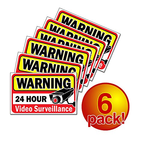 Video security decals sign for homebusiness 6 piece
